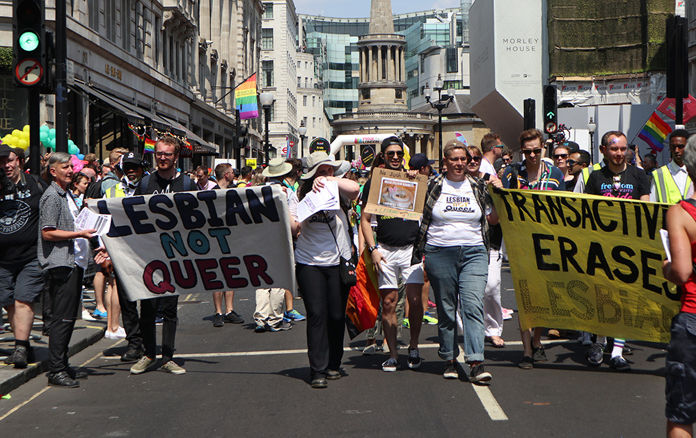Lesbians protest at LGBT Pride, London